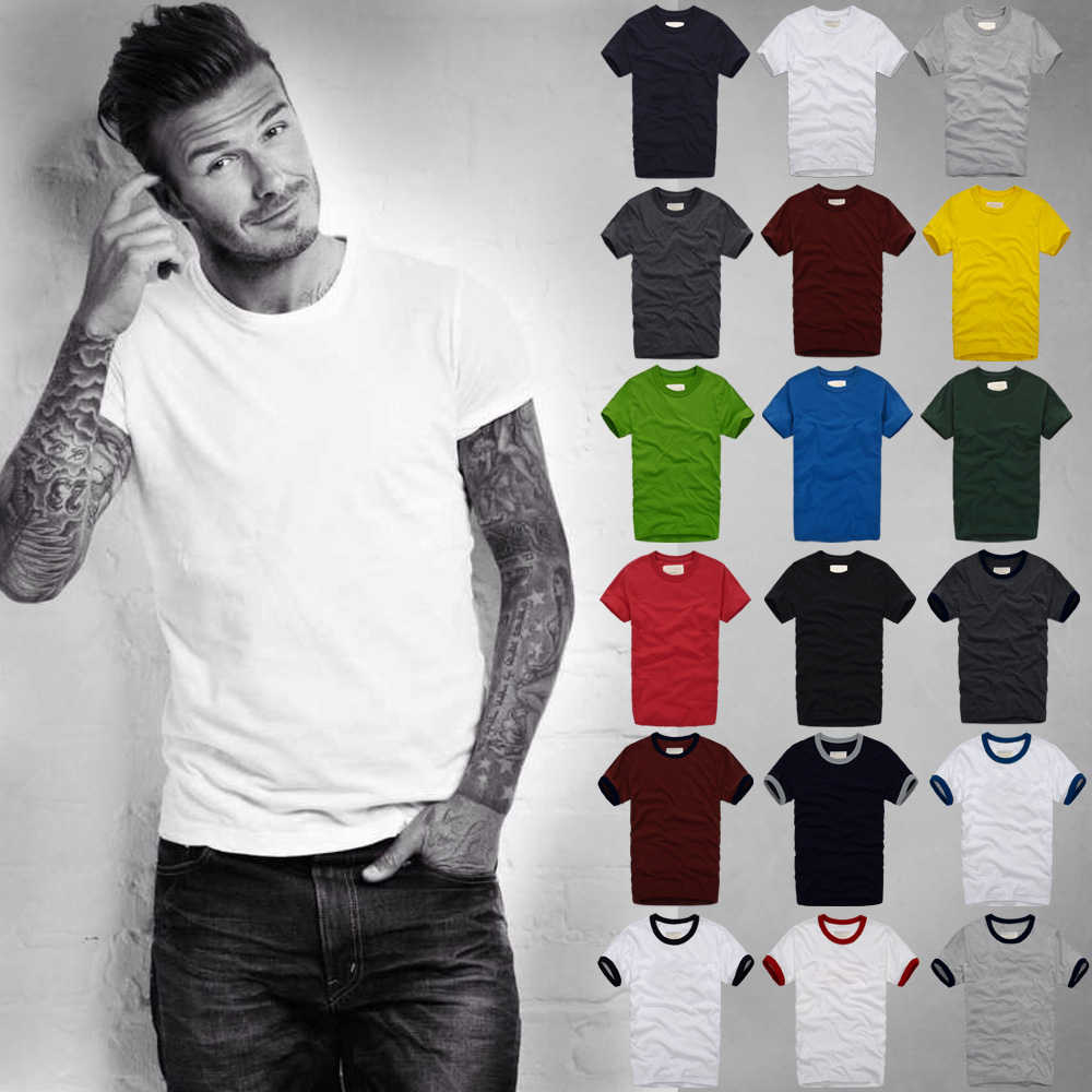 Summer   T     Shirt   Men's Short-Sleeved 100% Cotton   T  -  Shirt   Men Bottoming   Shirt   Solid Color Casual Clothes Male Tops & Tees