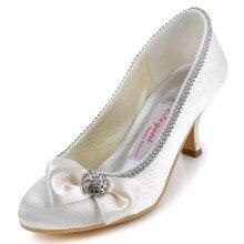 Frauen Braut Party Prom Pumpen Closed Toe High Heels Satin Trim Bogen Strass AJ8960 Weiße Dame Hochzeit Schuhe