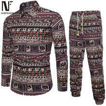 Ethnic Style Men Tracksuits Floral Printed 5XL African Shirts Long Sleeve Vintage Festival Set Party Streetwear Pant