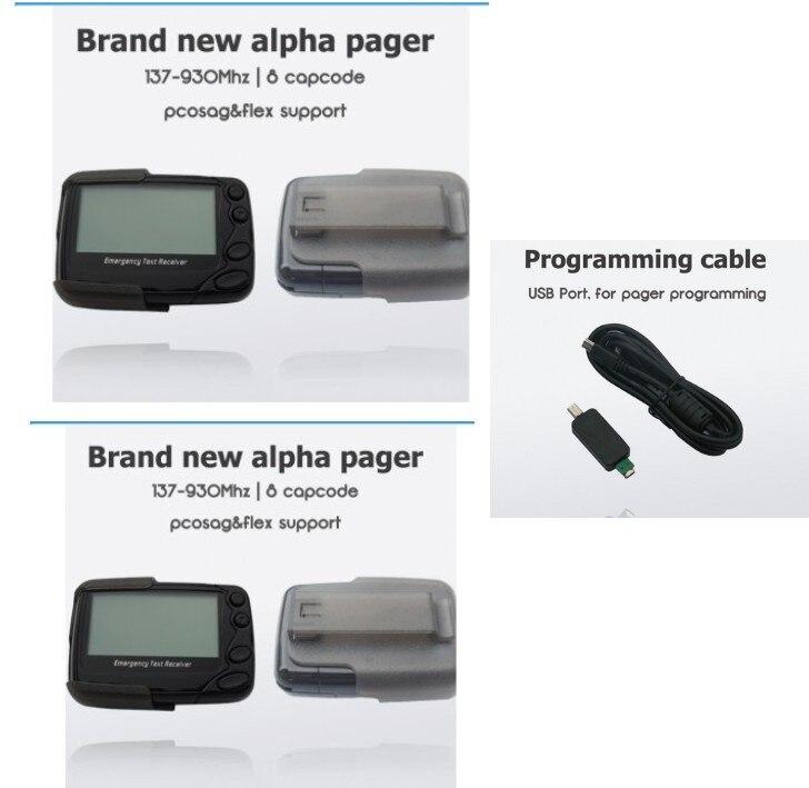 2 pcs Main/PC programmable pager, POCSAG ou Flex pager, alpha pagination système récepteur, livraison programmation câble, message texte pager