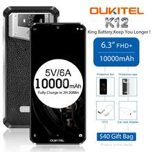 OUKITEL K12 Android 9,0 Smartphone 5V 6A Schnell Ladung Handy 6.3 ''19.5:9 MTK6765 6G RAM 64G ROM NFC 10000mAh Fingerprint