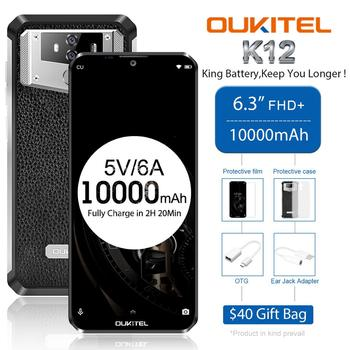 OUKITEL K12 Android 9.0 Smartphone 5V 6A Quick Charge Mobile Phone 6.3'' 19.5:9 MTK6765 6G RAM 64G ROM NFC 10000mAh Fingerprint - discount item  53% OFF Mobile Phones
