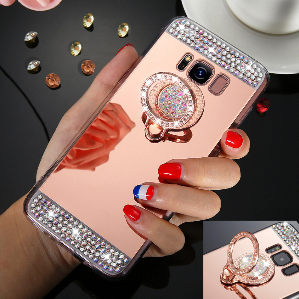 Rhinestone Mirror Glitter Case For Galaxy S8 Plus S7 Edge Bling Finger Ring Cover For Samsung Galaxy S9 Plus Note 8 s8plus Cases