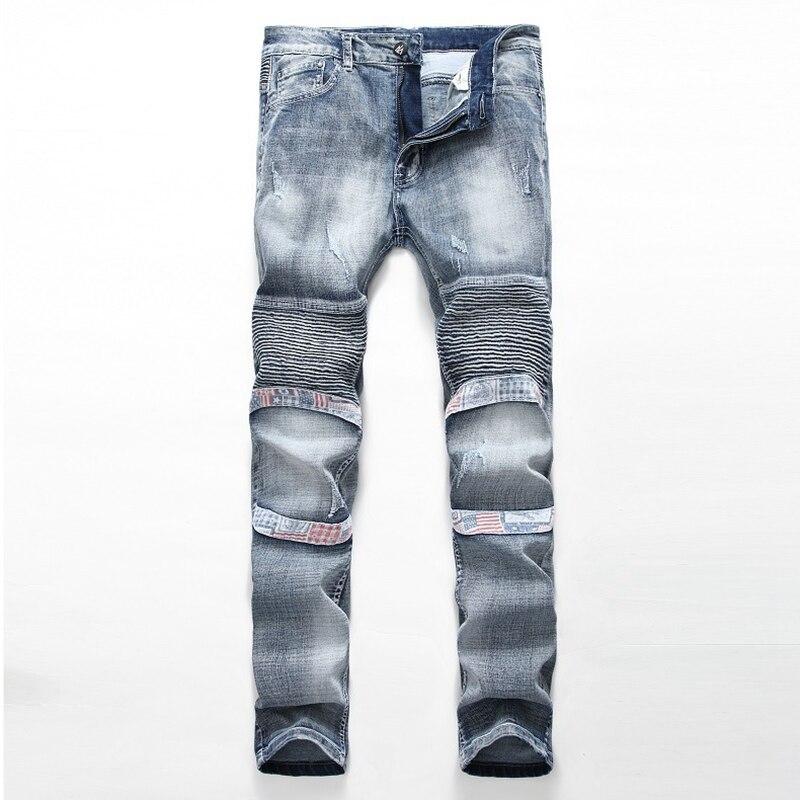 ФОТО Good Quality Mens Skinny Biker Jeans Men Hi-Street Ripped Rider Denim Jeans Motorcycle Runway Slim Fit Washed Moto Joggers Pants