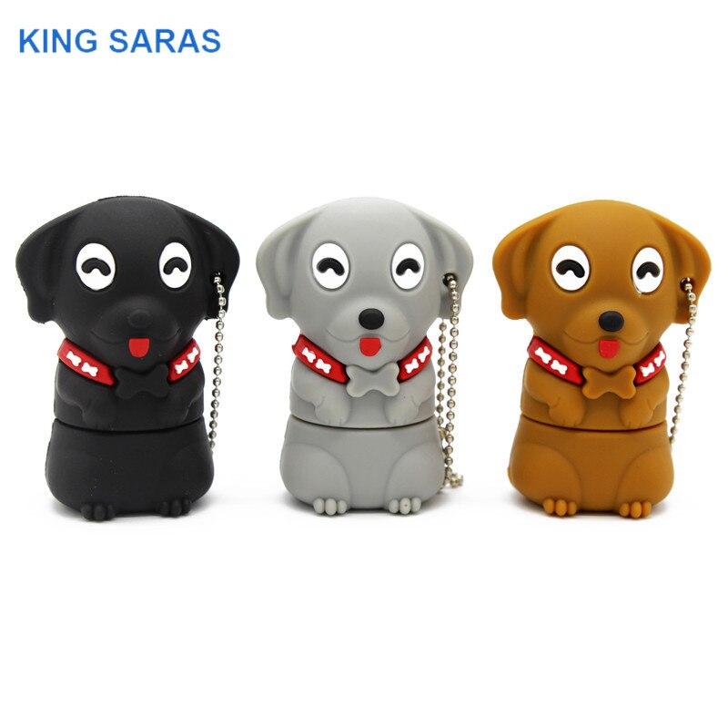 KING SARAS 64GB Cartoon  Mini Dog Usb Flash Drive Usb 2.0 4GB 8GB 16GB 32GB  Pendrive Gift U Disk