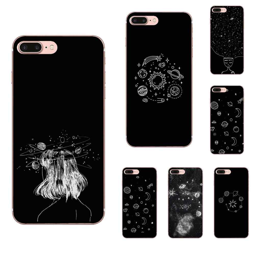 Sky Space Planet Black White Sun Moon Star For Sony Xperia Z Z1 Z2 Z3 Z4 Z5 compact Mini M2 M4 M5 T3 E3 E5 XA XA1 XZ Premium