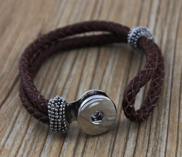 15pcs Lot Diy Snap Button Brown Leather Wrap Bracelet Metal Snap