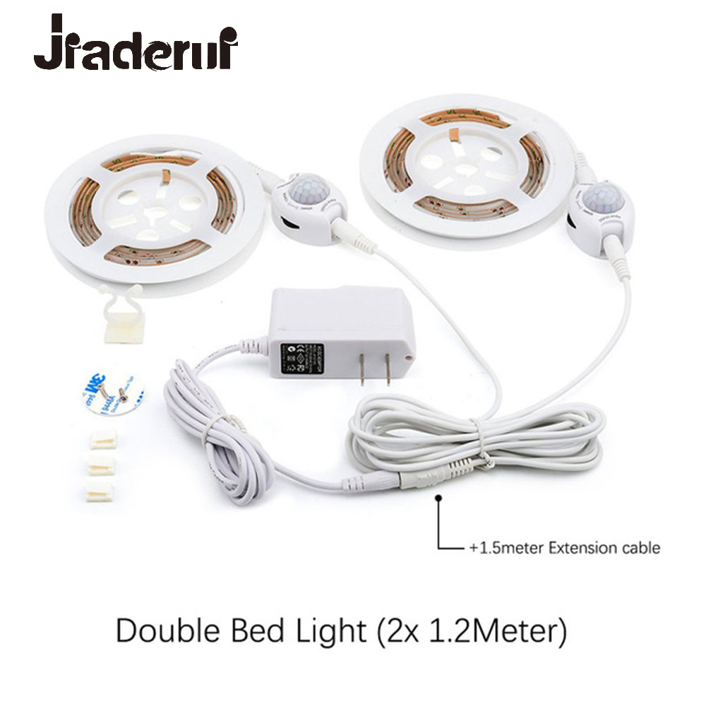 Motion Sensor Bed Led Strip Lights 1.2M Flexible LED Strips Motion Activated Night Lights Kit Bed Hallways Cabinet Auto ON/OFF motion activated bed light flexible led strip motion sensor night light kit for bed hallways stairs under cabinet baby room door