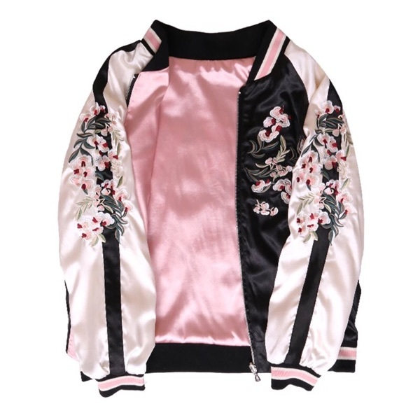 Autumn Harajuku Pilot   Jacket   Women Floral Embroidery Long Sleeve Bomber Coat 2018 Casual Satin   Basic     Jackets   Pink Coat