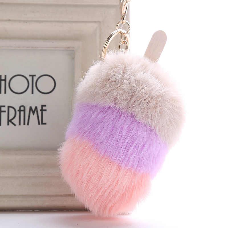 Fofos de pele do falso pom pom sorvete chaveiro titular capa feminina saco encantos ornamentos pingente jóias acessórios