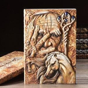Image 5 - Vintage Magazine cahier Magazine carnet de croquis journal daffaires livre Style médiéval sculpté à la main magicien cadre en relief profond