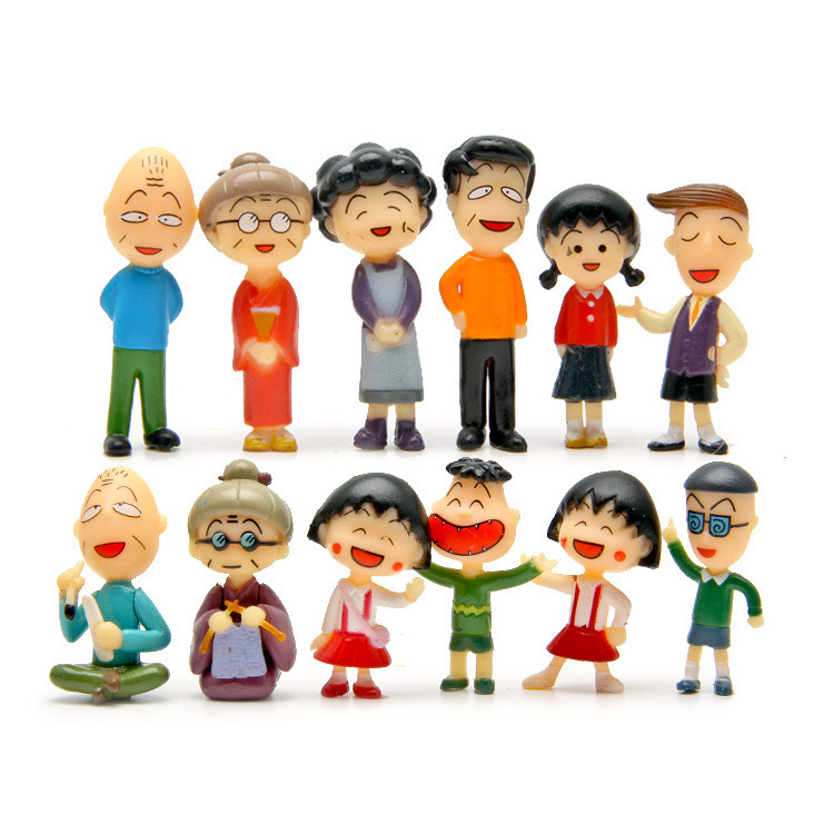 baby toys 12pcs/lot Chibi Maruko Chan Figures Family Portrait Collection Toys Doll Hobbies Action Kids Toys Figures Christmas image