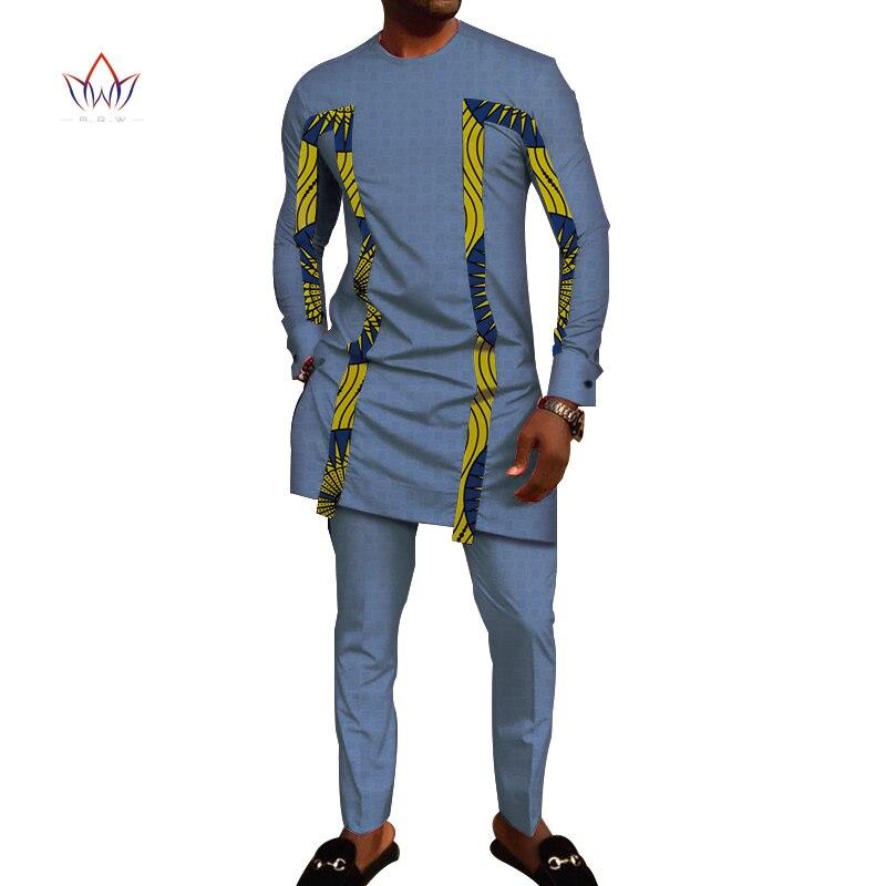 Bazin Riche hommes 2 pièces pantalons ensembles vêtements africains vêtements décontracté hommes Jacquard t-shirts et pantalons ensembles WYN710 - 2
