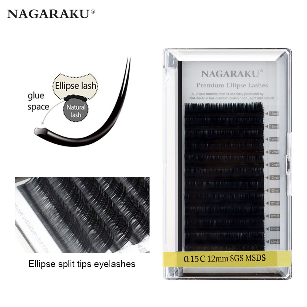 NAGARAKU Flat Ellipse Eyelashes Extensions Split Tips Soft And Light False Eyelashes Thickness 0.15 0.20 Mm B C D Glossy Black