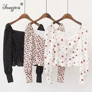 النساء البلوزات قمصان مطبوعة التوى طويلة الأكمام قميص السيدات تكدرت عالية الخصر أعلى سترة قمم Blusas موهير دي