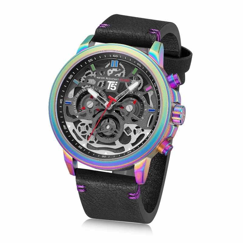 สายหนัง T5 หรูหราสีดำควอตซ์ชาย Chronograph กันน้ำ Mens กีฬานาฬิกาผู้ชายนาฬิกานาฬิกาข้อมือชายนาฬิกา