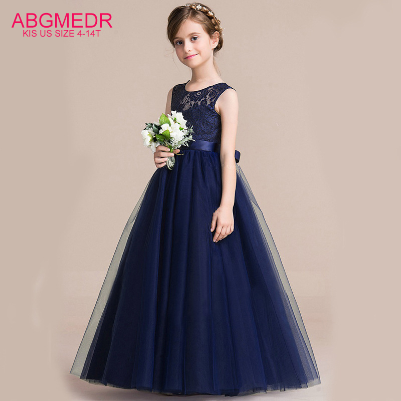 Teenagers Clothing Teens Girls Dresses Summer 2017 New Girls Dress Big Girl Blue Prom Wedding Dress for Kids Party Wear Clothes цена