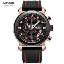 цена Megir Men's Military Sports Quartz Watches Silicone Strap Chronograph Army Wrist Watch Man Relogios Masculino 2100 Rose Black онлайн в 2017 году
