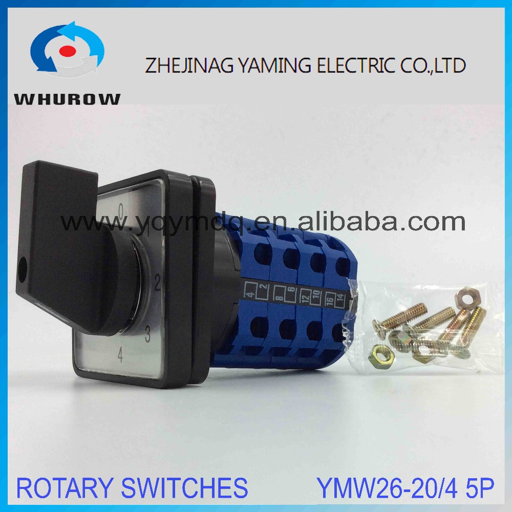 Rotary switch YMW26-20/4 0-4 Ui 380V Ith 20A 4 poles 5 Position 16 Terminal High quality changeover cam switch sliver contact ith 20a 8 screw terminals rotary combination cam switch