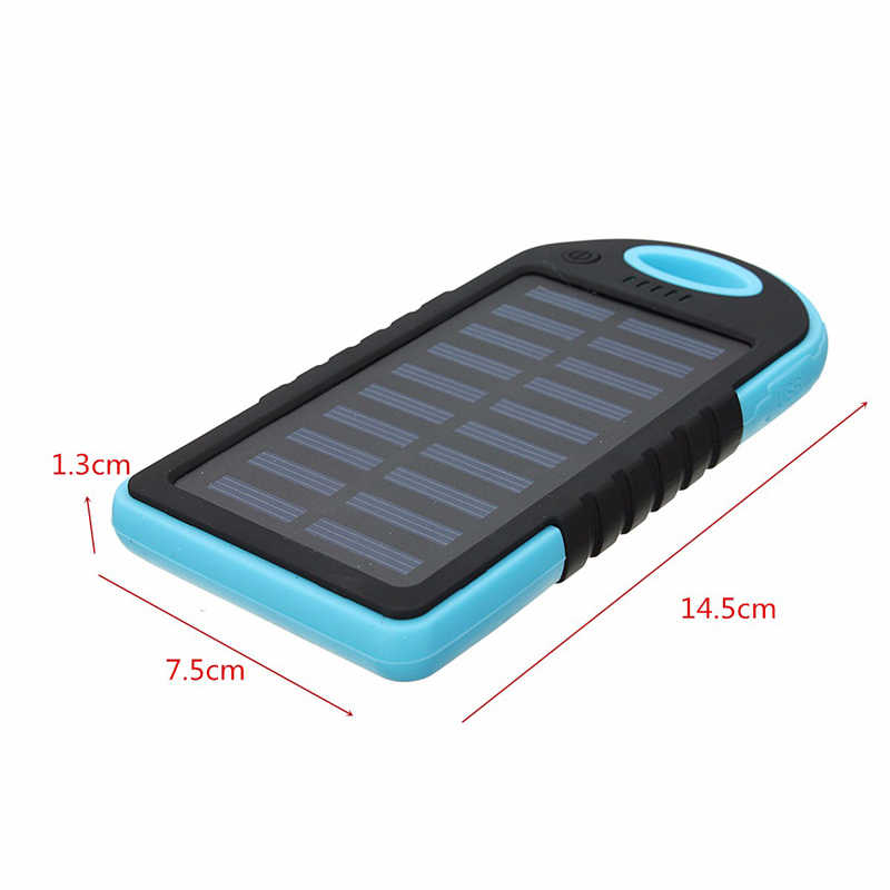 Cncool Solar Panel Power Bank Dual USB External 4000mAh Battery Pack Power Charger With Charging Cable For Phone Tablet