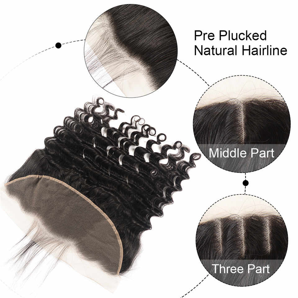 Loose Deep Wave Bundles With Frontal Wiggins 3 Bundles With Closure Pre Plucked Frontal With Bundles Brazilian Remy Human Hair
