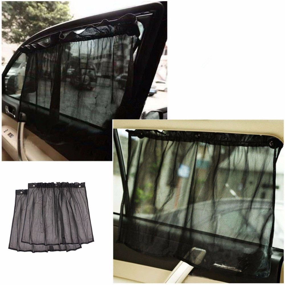 Car Window Sunshade 2pcs Auto Side Rearcar Black Mesh Solar Protection Cover Head Curtain Visor Shield Sunshade UV Protection naturehike outdoor anti mosquito head protection mesh fabric head cover mask black