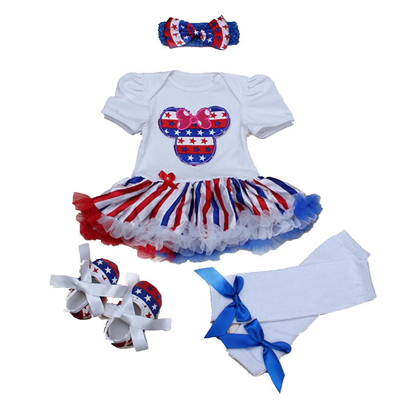 Minnie Girls 4th Of July Dress Romper Legwarmers Crib Shoes Headband 4PCS Newborn Tutu Sets Toddler Girl Clothing Infant Clothes new baby girl clothing sets infant easter romper tutu dress 2pcs set black girls rompers first birthday costumes festival sets