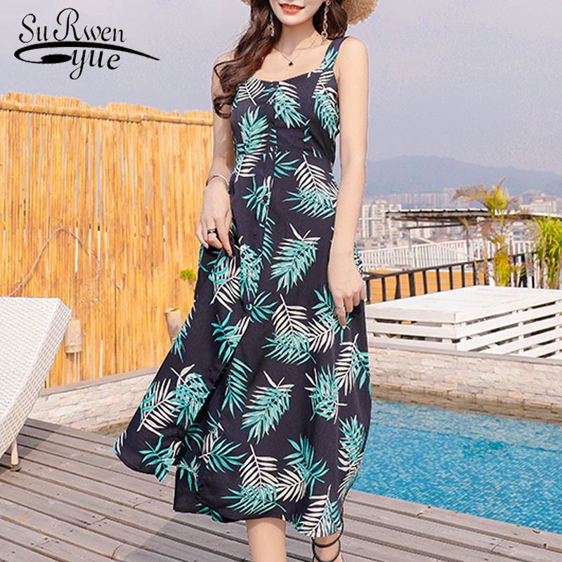 new 2018 fashion bohemian style summer <font><b>dress</b></font> <font><b>sexy</b></font> sleeveless bow backless print chiffon <font><b>dress</b></font> women beach mid calf <font><b>dress</b></font> 0077 30 image