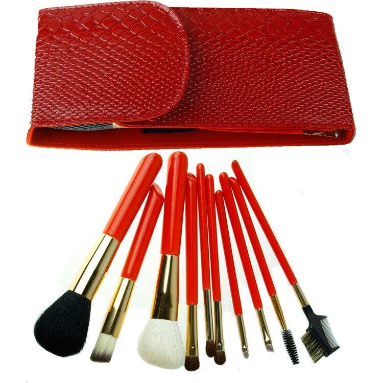 ISMINE 10 pcs Pro Makeup Brush Set Cosmetics Brushes Tool Eyebrow Foundation  Powder Lipsticks Shadows Makeup Brushes Kit PU Bag