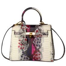 Women Famous Brand Designer Luxury Genuine Leather Handbags Women Messenger Bag Ladies Snake Pattern Shoulder Bag Crossbody
