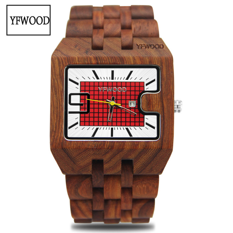 Wood Watch for Men Women bracelet Wristwatch Top Brand Luxury Quartz Wooden Band Casual Date display Quartz Watches Lovers Clock natural hand made classic red wooden men quartz watch bracelet clase full wood band simple scale dial cool gift reloj masculino
