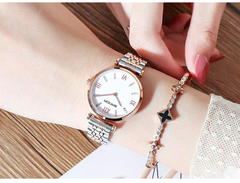 Relojes de marca famosa de oro rosa, reloj vintage a prueba de agua informal de estrella de las señoras, reloj de diseñador de moda de acero inoxidable para mujer - 5