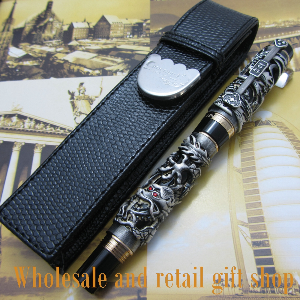 Jinhao Dragon Phoenix Heavy gray Chinese Classical Luck Clip Fountain Pen and pen bag
