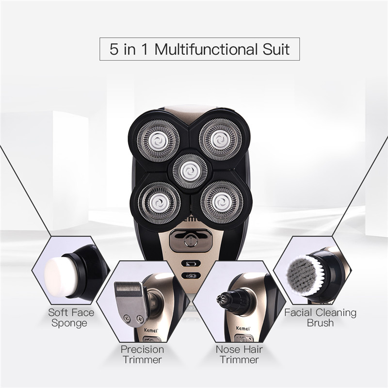 Kemei 5 in 1 Rechargeable Shaver Men Nose Hair Trimmer Electric Razor 5 Blade Shavers Washable 4D Floating Shaving Machine