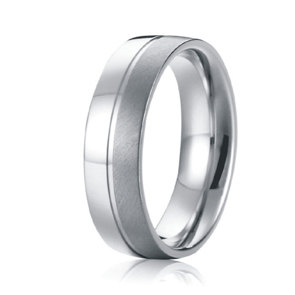 Classic Two Tone Brushed And Polishing 8mm Custom Men Wedding Bands