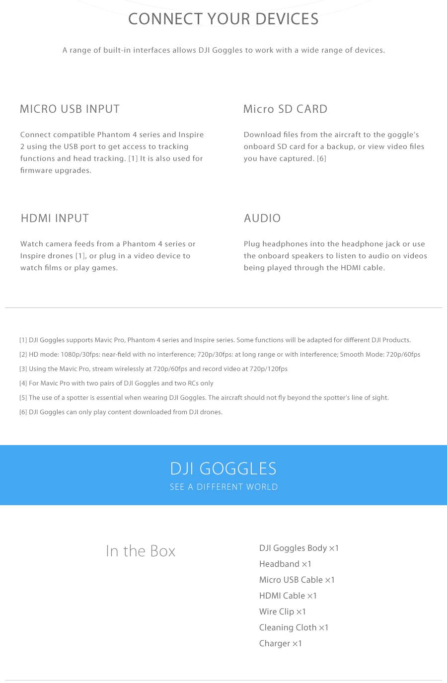 DJI Goggles FPV HD VR Glasses For Spark Mavic Pro Phantom 4
