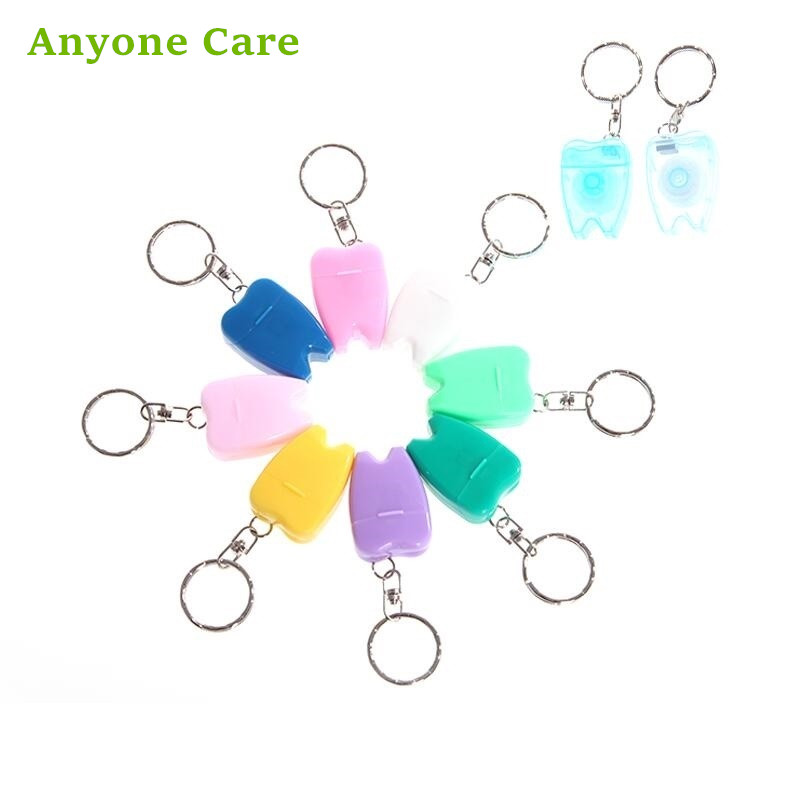 Wholesales 500PCS Keyring Tooth Shape Dental Flossers Gift for Dentistry personal portable floss toothpick