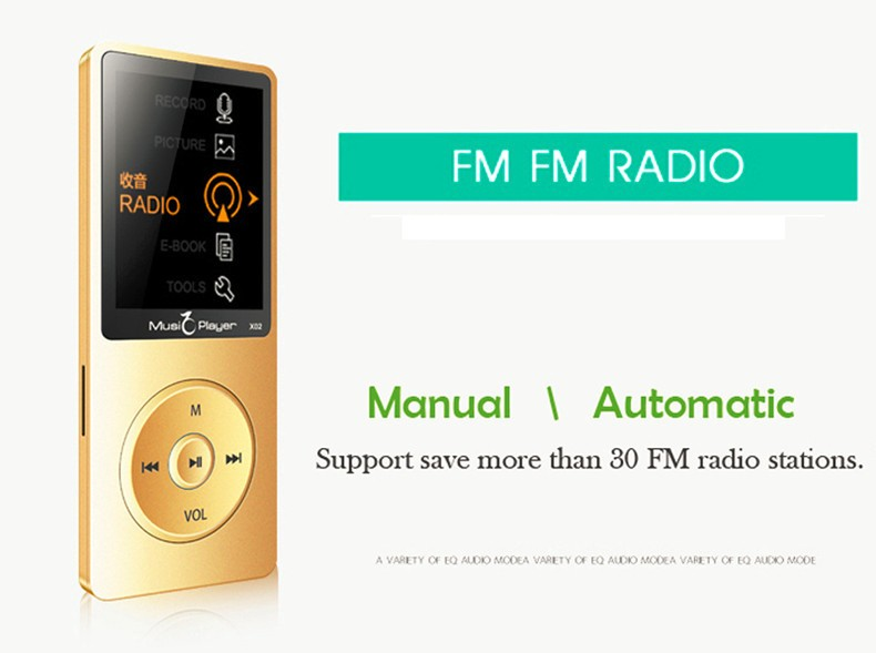IQQ X02 8GB MP3 Music Player 1.8 Inch Screen 30h lossless sound, Support up to 64GB Micro SD Card Gold Built in Speaker FM Ebook (13)