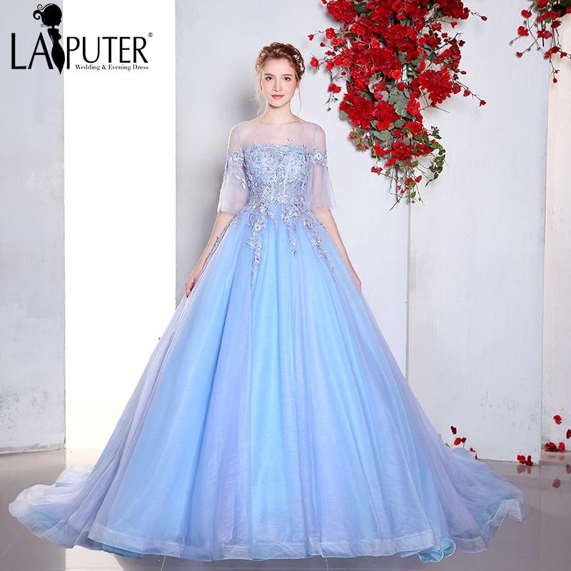 Us 1790 Real Photo Vestidos De Festa Vestido De Novia 2017 Light Blue Ball Gown Half Sleeves Pageant Prom Evening Dress In Prom Dresses From