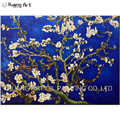 Van Gogh Imitation Paintings Handmade Blossoming Plum Blossom Wall Painting Dark Blue Flower Oil Painting for Living Room Decor