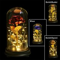 2018 Beauty and the Beast Red Rose in a Glass Dome on a Wooden Base for Valentine's Gifts