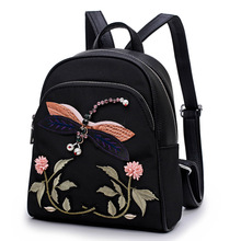 JOFEANAY Brand 2017 new women's hand embroidery shoulder bag dual-use wild backpack