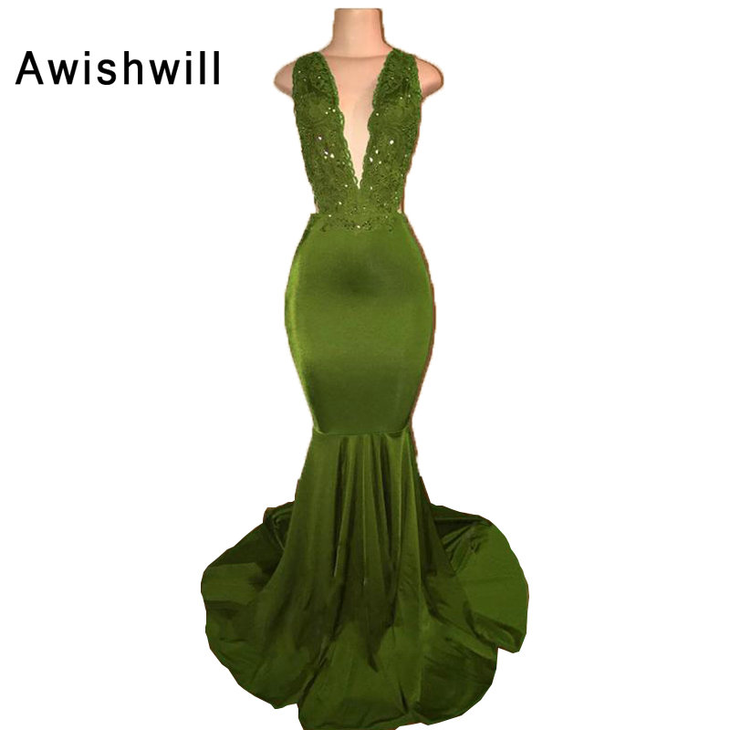 Vestidos de Fiesta Largos Elegantes de Gala Sexy Backless Long Prom Dress V-neck Appliques Mermaid Formal Evening Dresses 2019
