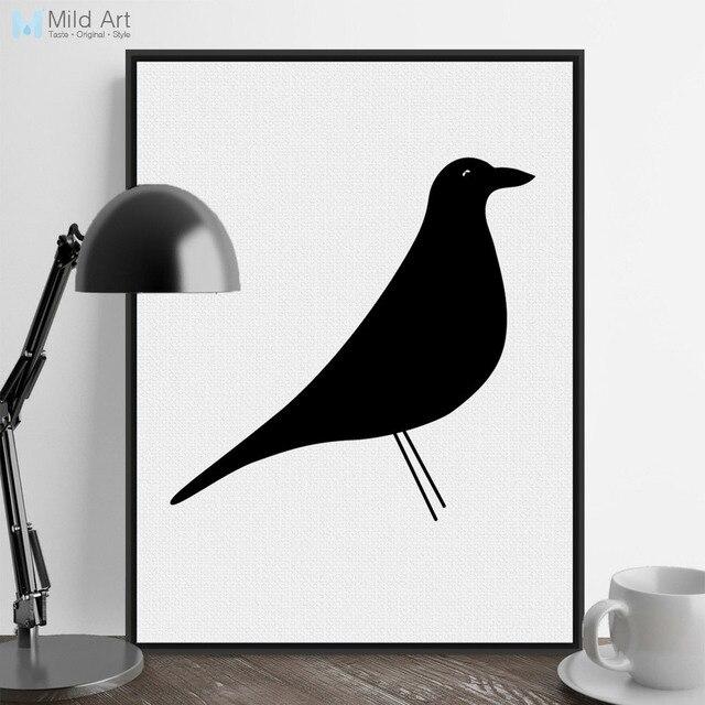 Moderno Minimalista Nórdico Negro Blanco Animal Pájaro Grande A4 ...
