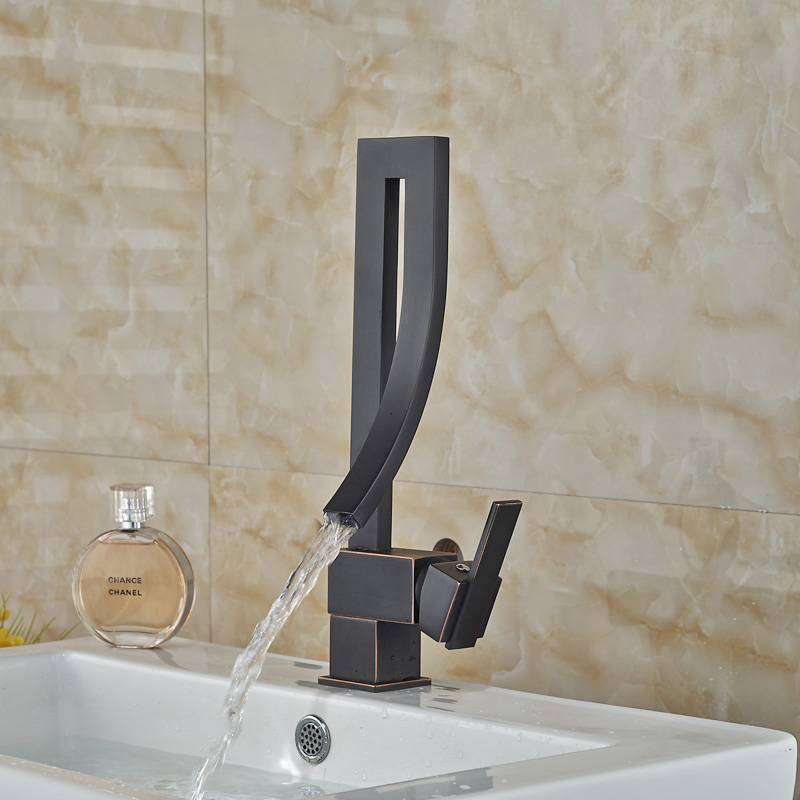 Unique Design Waterfall Basin Faucet Deck Mount One Hole Bathroom Mixer  Water Tap Oil Rubbed Bronze Finish In Basin Faucets From Home Improvement  On ...