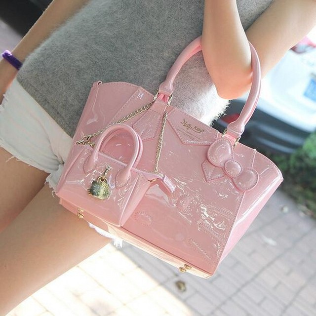 Luxury famous brand women female ladies bags leather hello kitty handbags  shoulder tote sac de marque 6b150a4a39b6a