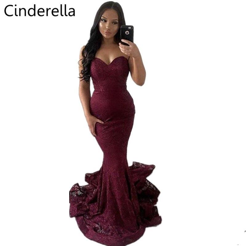Cinderella Elegant Burgundy Sleeveless Floor Length Mermaid Lace Evening Dresses 2019 New Zipper Back Seep Train