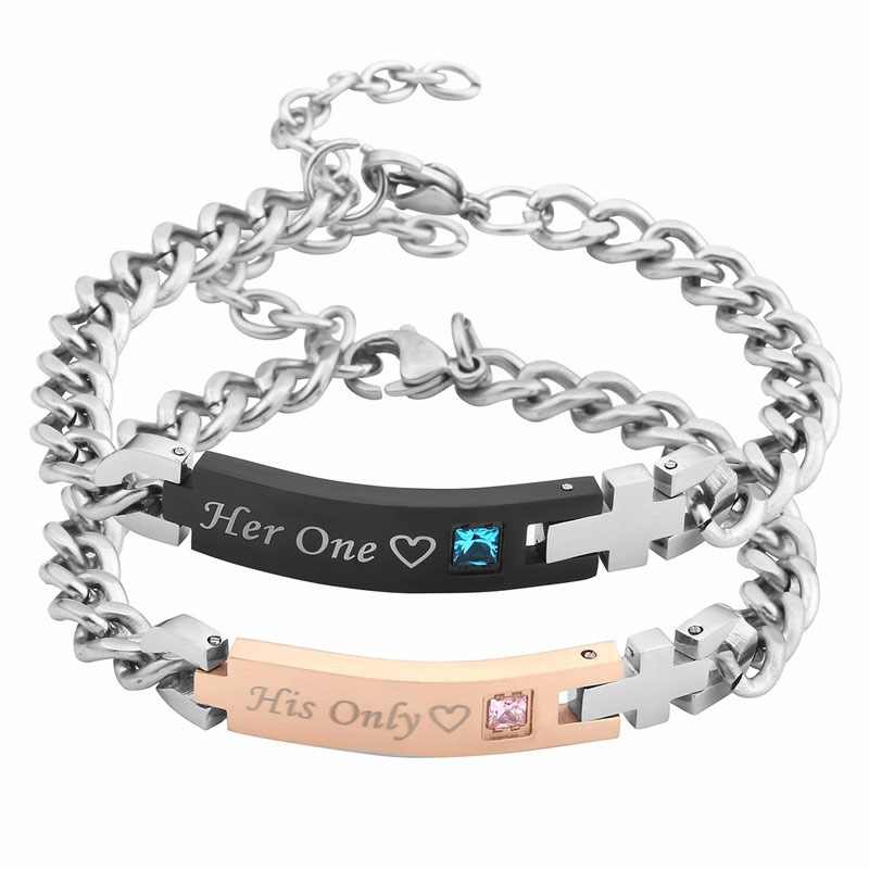 52baff0da1 Jovivi His or Hers Matching Set Stainless Steel Couple Bracelet Lovers Mens  Womens Bracelets I Know&I