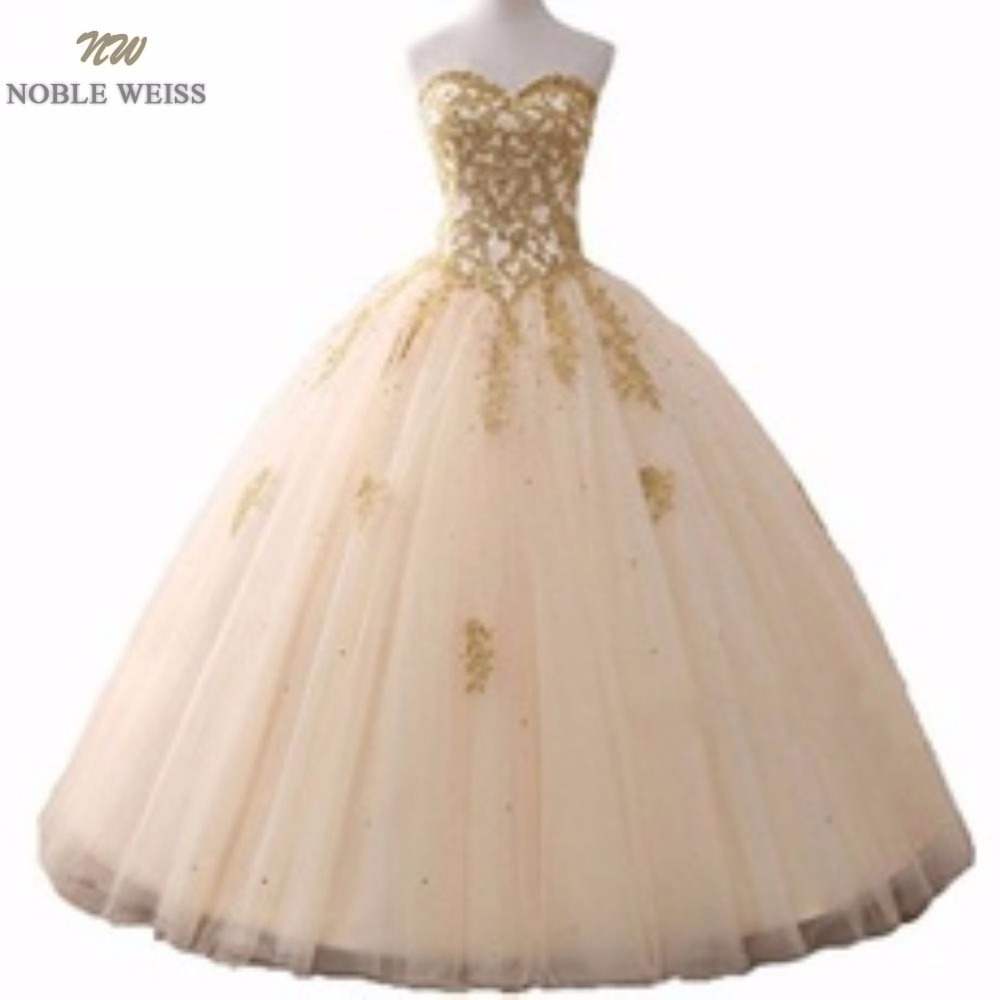 NOBLE WEISS Ball Gown Wedding Dress Real Photos Appliques Beading Sweetheart Floor-Length In Stock Wedding Gown
