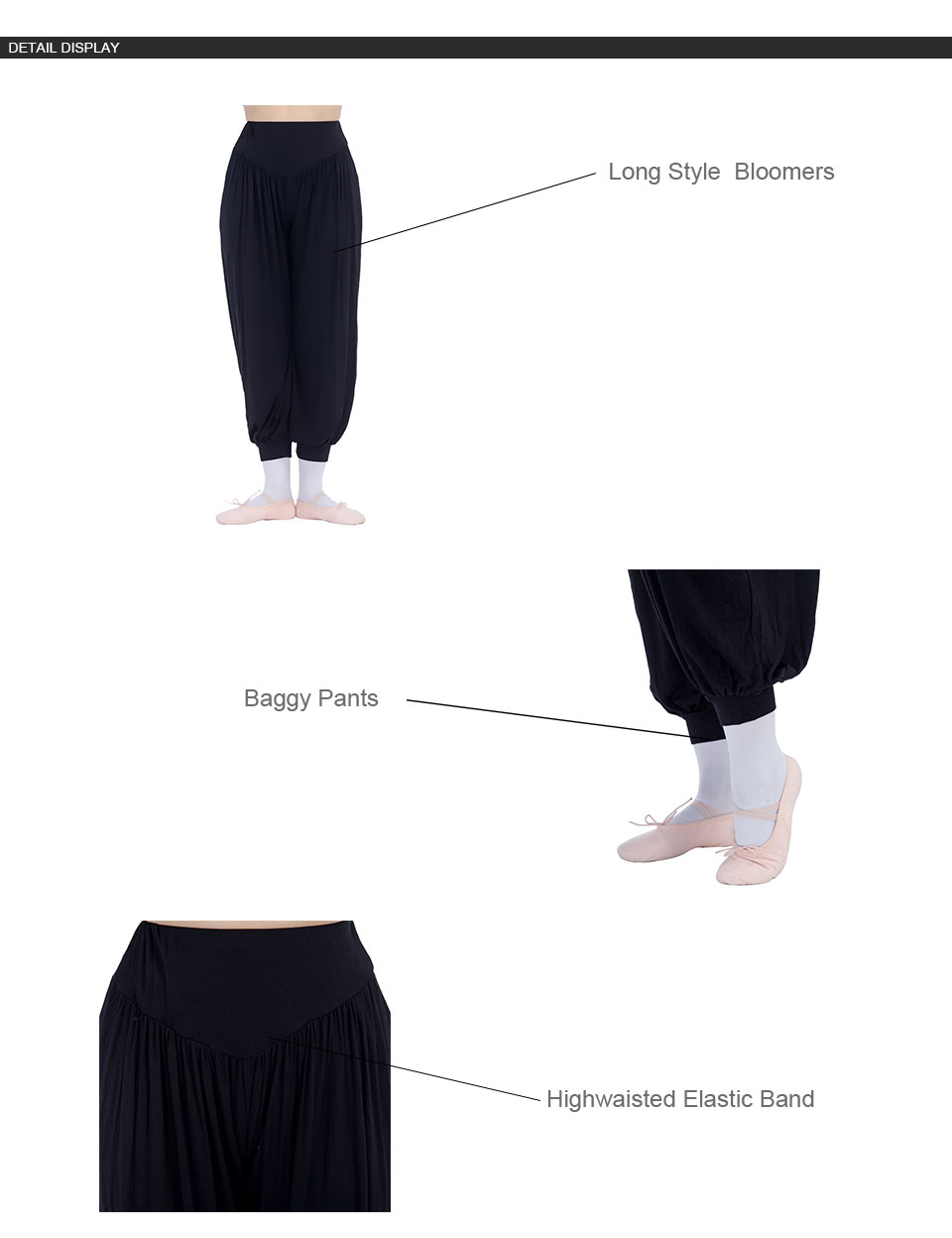 Black,Red Highwaisted Bloomers Dance Pants for Dance for Ladies and Girls 10